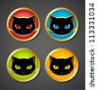 Golden and black cat head icons isolated on dark grey background - stock vector