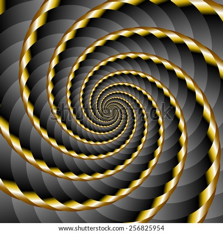 Golden and black twisted and ribbed spiral object with background - stock vector