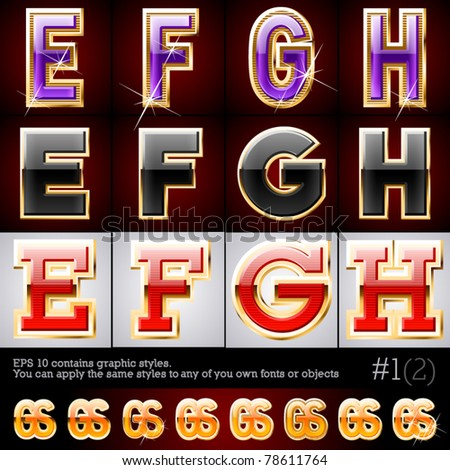 Golden and glass typeface. Set #1. File contains graphic styles available in the Illustrator 10 + You can apply the styles to any of you own fonts or objects - stock vector