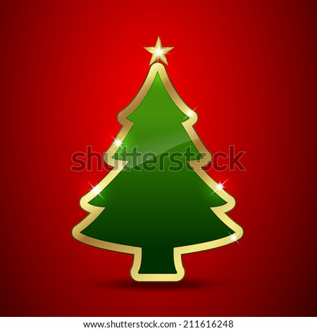 Golden and glossy Christmas tree Vector illustration. Easy to edit. - stock vector