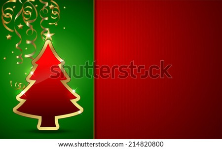 Golden and glossy Christmas tree with Background. VECTOR/ EPS 10 - stock vector