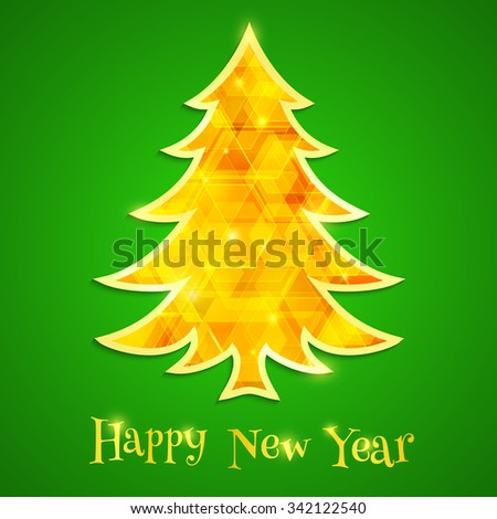 Golden and glowing Christmas tree isolated on the green background. Design elements for holiday cards. Vector illustration - stock vector