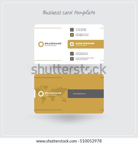 Golden Gray Business Card Print Template Stock Vector - Business card printing template