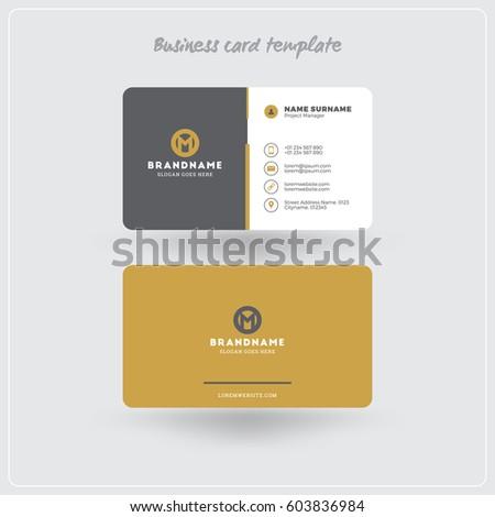 Golden Gray Business Card Print Template Stock Vector - Business card print template