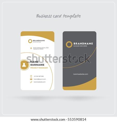 Golden Gray Vertical Business Card Print Stock Vector - Business card print template