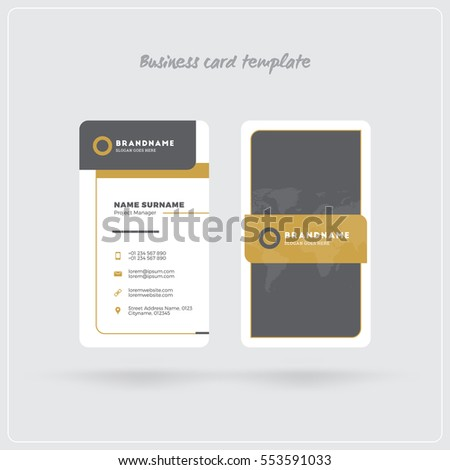 Golden Gray Vertical Business Card Print Stock Vector - Rounded corner business card template