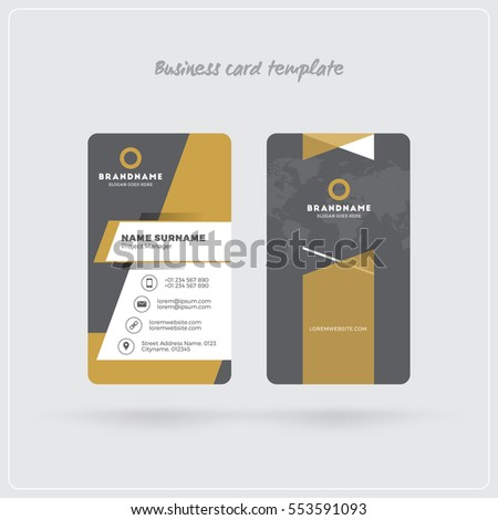 Golden gray vertical business card print stock vector 553591093 golden and gray vertical business card print template double sided personal visiting card with reheart Choice Image