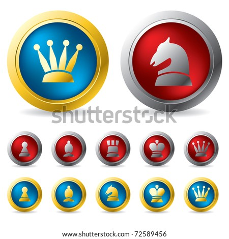 Golden and silver chess buttons - stock vector