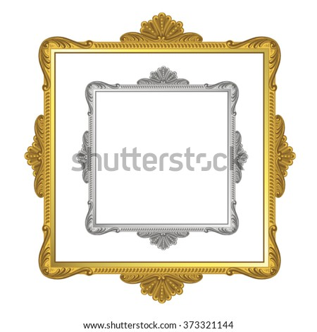 Golden and silver frame on white background - stock vector