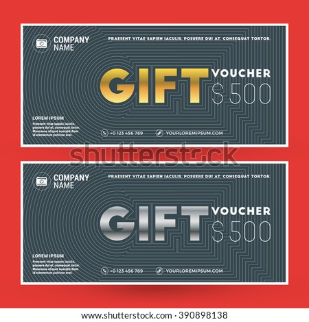 Golden and Silver Gift Voucher. Vector Design Print Template. Gift Certificate. Coupon, Ticket Template. Vector Illustration