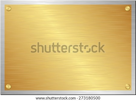 golden and silver plaque - stock vector