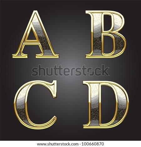Golden and silver vector figure - stock vector