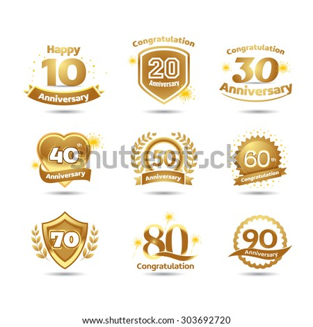 Golden Anniversary happy holiday festive celebration emblems set with ribbons isolated vector illustration. White background version. - stock vector