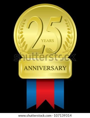 Golden Anniversary 25 years - stock vector
