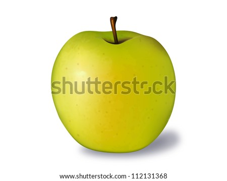 golden apple vector illustration isolated on white - stock vector
