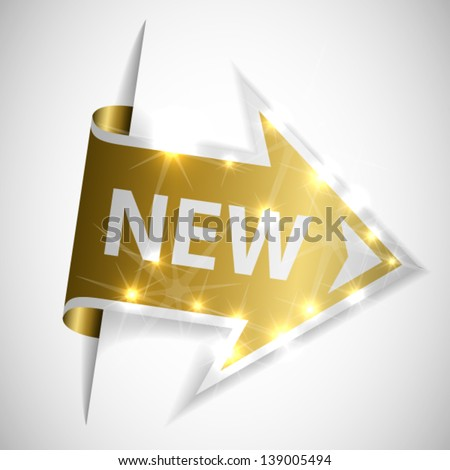 Golden arrow with place for your text - stock vector
