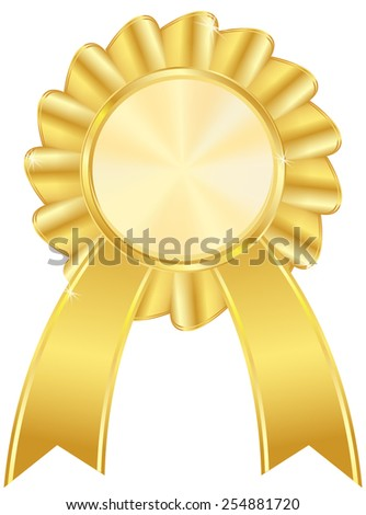 Golden award badge - vector drawing isolated on white background  - stock vector