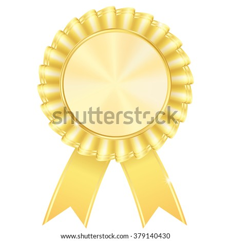 Golden award badge. Vector illustration isolated on white background. - stock vector