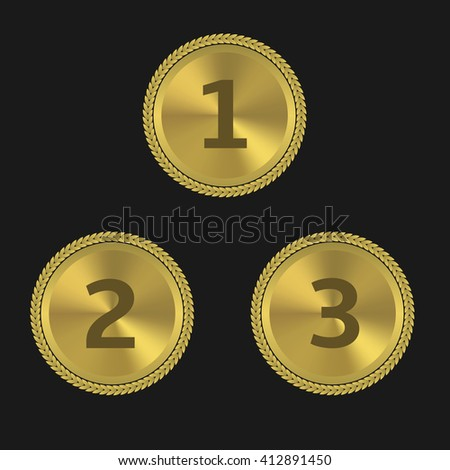 Golden award labels. First place. Second place. Third place. Podium signs - stock vector