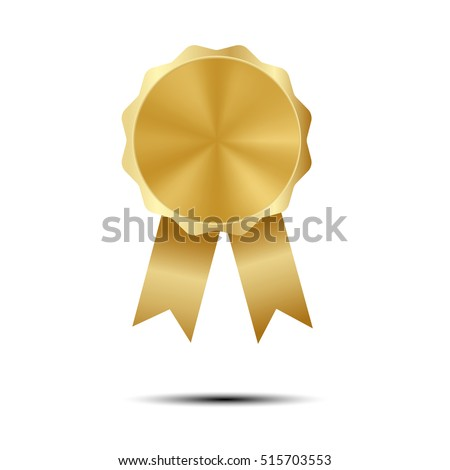 golden award of quality template with ribbons