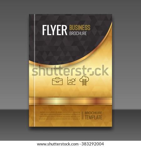Golden background flyer template. Luxury brochure, book cover mockup design. Vector elements. - stock vector