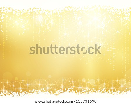 Golden background for Christmas and other festive occasions. Sparkling stars give it a magical feeling for the festive season to come. - stock vector