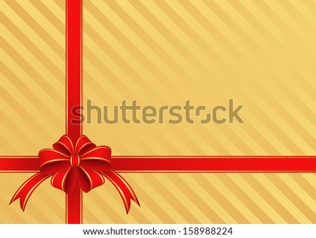 golden background with a red bow for gifts - stock vector