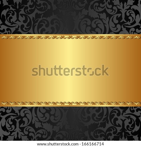 golden background with abstract floral ornaments - stock vector