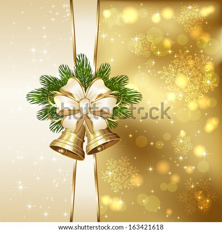 Golden background with Christmas bells, beige bow,  spruce branches and blurry lights, illustration. - stock vector