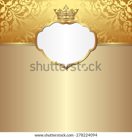 golden background with crown - stock vector