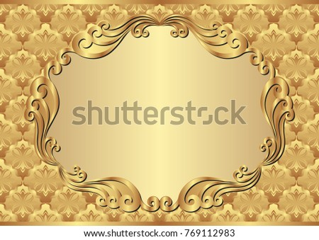 golden background with decorative frame