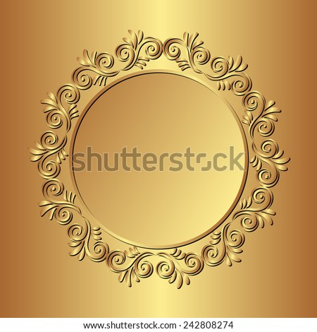 golden background with floral border - stock vector