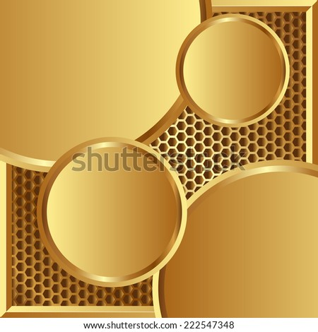 golden background with round banners - stock vector