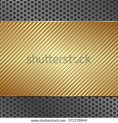 golden background with striped pattern - stock vector