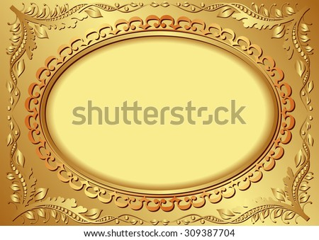 golden background with vintage frame - stock vector