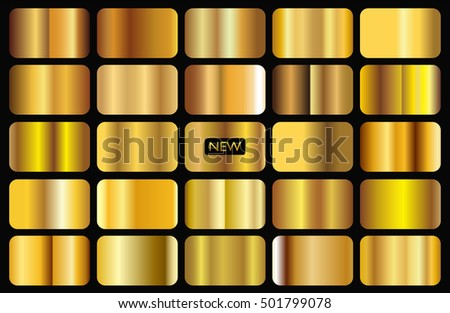 Golden backgrounds collection.Set of gold gradients.Vector illustration.