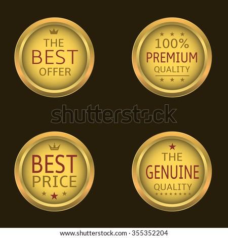 Golden badge set. The Best offer, Premium quality, Best price, Genuine quality - stock vector