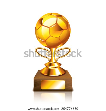 Golden ball figurine isolated on white photo-realistic vector illustration - stock vector