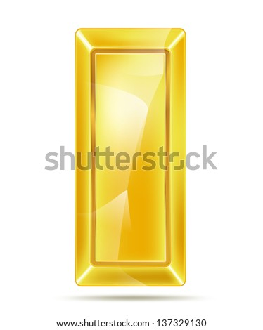 golden bar with reflections - stock vector