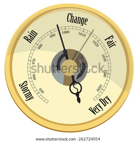 Golden barometer vector isolated rain and stormy, fair and very dry, change - stock vector