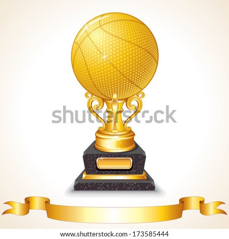 Golden Basketball Trophy. Vector Illustration - stock vector