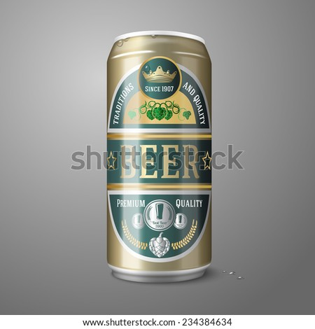 Golden beer can with beer label, isolated on gray background, with place for your design and branding. Vector - stock vector