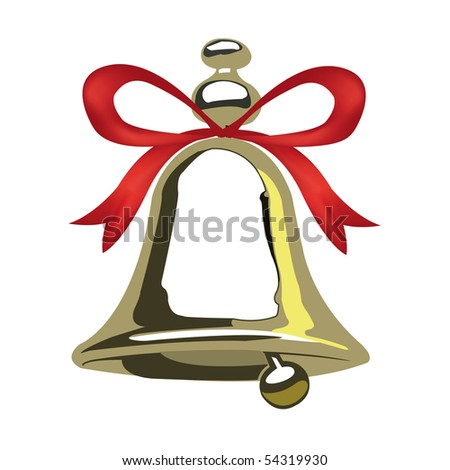 Golden bell with decorative bow - stock vector