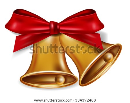 Golden Bells With a Red Bow Isolated over white background - stock vector