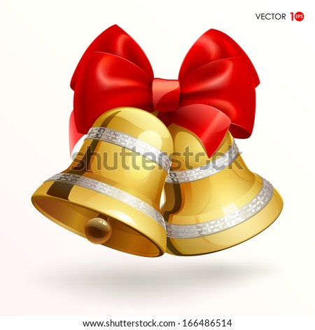 Golden bells with red ribbon on white background . Vector illustration. Eps 10. - stock vector