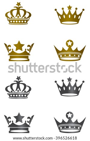 Golden & black white isolated crown icons - stock vector