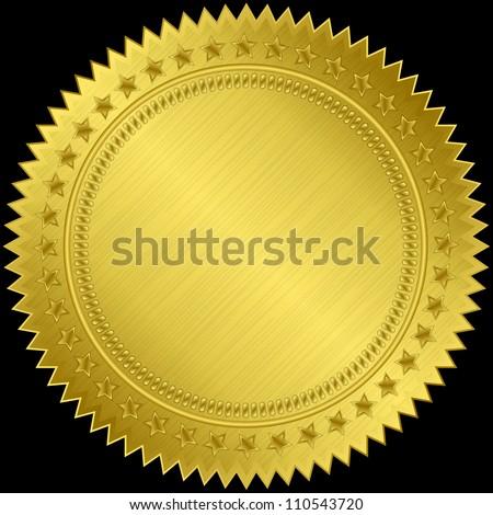 Golden blank label, vector illustration - stock vector