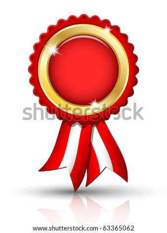 Golden BLANK tag with ribbons, vector - stock vector