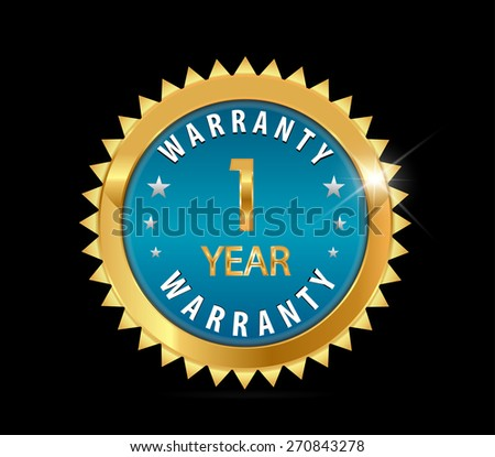 golden blue metallic one year,  1 year warranty badge - vector eps10 - stock vector