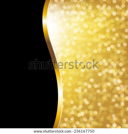 Golden Bokeh Holiday Poster With Gradient Mesh, Vector Illustration - stock vector